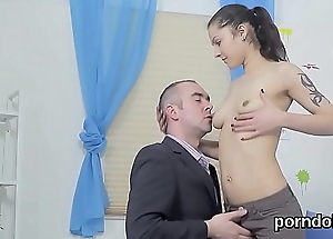 Sultry schoolgirl is seduced and shagged away from grey teacher