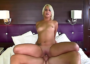 Magnificent busty blonde gets her lover riding