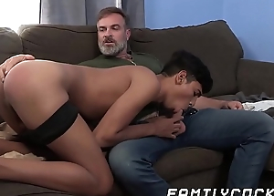 Young joyful latino cums lasting breeding with prudish stepdaddy