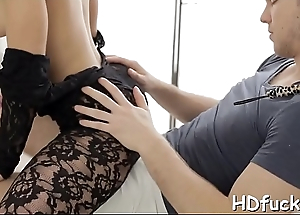 Non-professional piece of baggage adventures huge dick shacking up her throat coupled with cum-hole