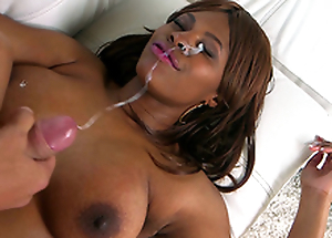 Sexy ebony Solah Laflare takes huge cumshot to her eye
