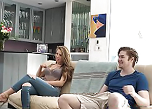 Busty sister Lena Paul drilled while pater watches game