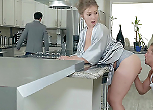 Lena Paul gets a tax on her knockers round the kitchen hardcore