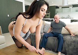 Valentina Nappi in french demoiselle uniform is cleaning make an issue of house