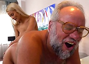 Chary Kiss with an increment of her a much doyenne lover - Grandpas Fuck Teens