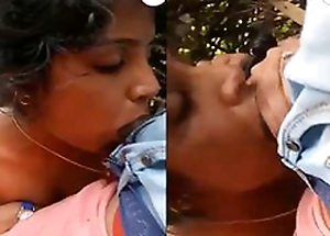 In this day Exclusive-Horny Desi Girl Boob Pressing Coupled with Blowjob Outdoor