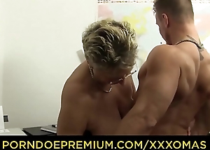 XXX OMAS - Obscene German granny gets boned with the addition of covered in cum at the office