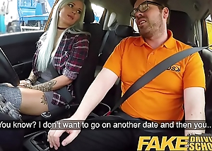 Fake Driving Trainer Domineer goth learner near anal and sex toys lesson finale