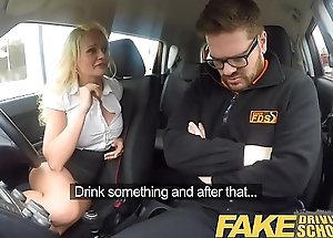 Fake Driving Trainer Instructor has horny car thing embrace with the man blonde MILF