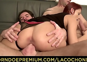 LA COCHONNE - Carbon copy nethermost reaches threesome for slutty French redhead Lola Candy