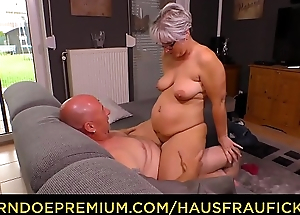 HAUSFRAU FICKEN - Heavy German granny fucks the brush skimp during mature bush-leaguer the outback