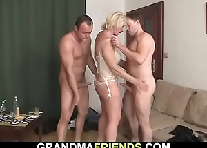 Hot trio sex with blonde mature woman