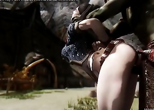 Doggy style anal fuck all over massive 3d monster, skyrim