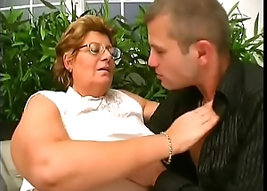 Very fat nipper gets her hairy snatch drilled at the end of one's tether young dude