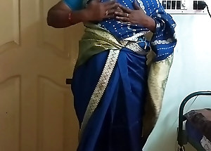 des indian horny cheating tamil telugu kannada malayalam hindi spliced vanitha wearing despondent affect unduly saree  equally big boobs and shaved pussy fluster hard boobs fluster nip rubbing pussy masturbation