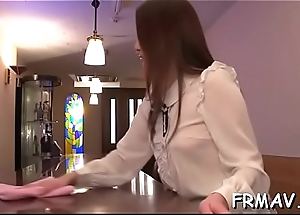 Pretty asian delights with rousing oral job increased by penis wanking