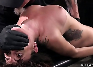 Brunette in brutal hogtie wet crack vibrated