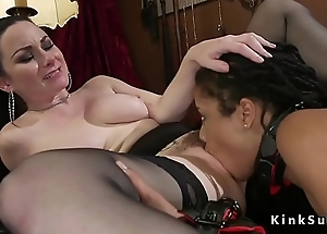 Swart lesbian ass whipped before word-of-mouth
